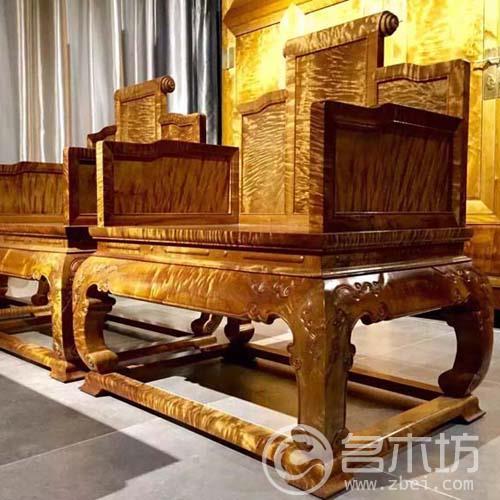 金丝楠木家具:小叶桢楠宝座沙发12件套