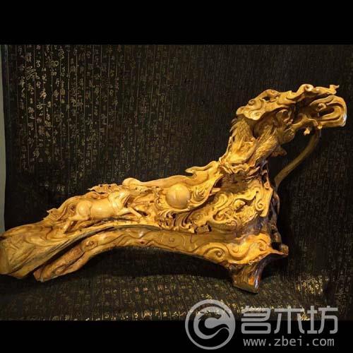 金丝楠木雕刻摆件早生贵子