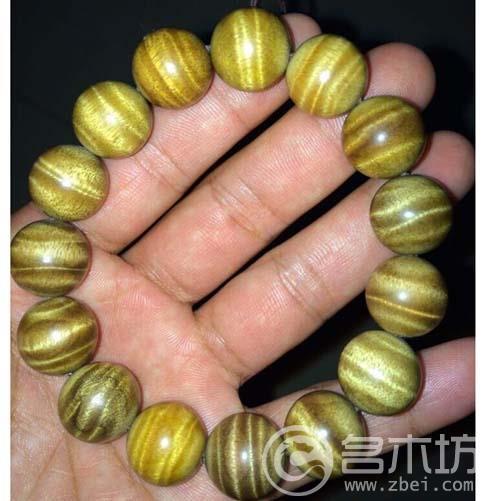金丝楠木手串1.5水波纹手串