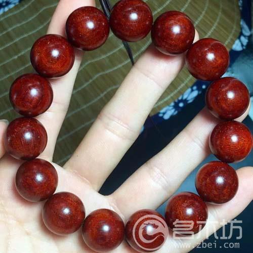 小叶紫檀龙鳞纹手串1.5加金星