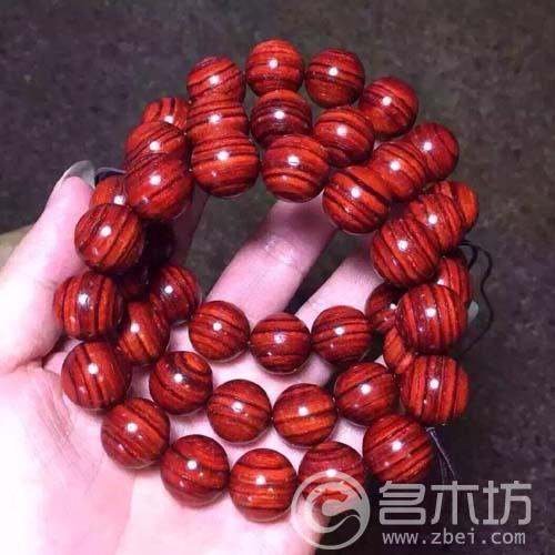 小叶紫檀1.5虎皮鸡血红手串