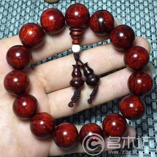 印度小叶紫檀泥料水波纹带金星1.5手串女款