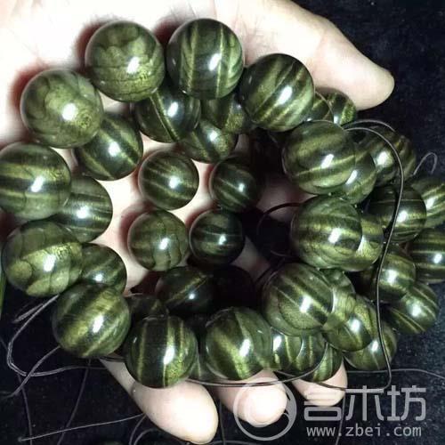 阴沉金丝楠木水波纹2.0乌木手串绿料