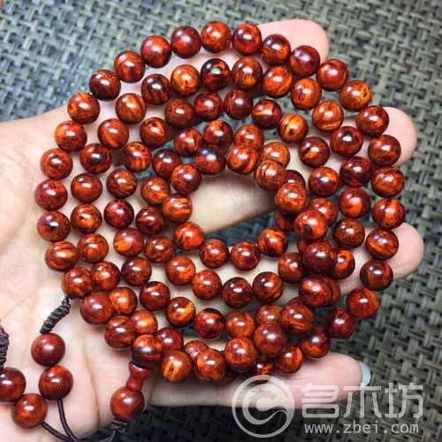 印度小叶紫檀树头老料乱纹满瘤疤念珠手串0.8x108颗