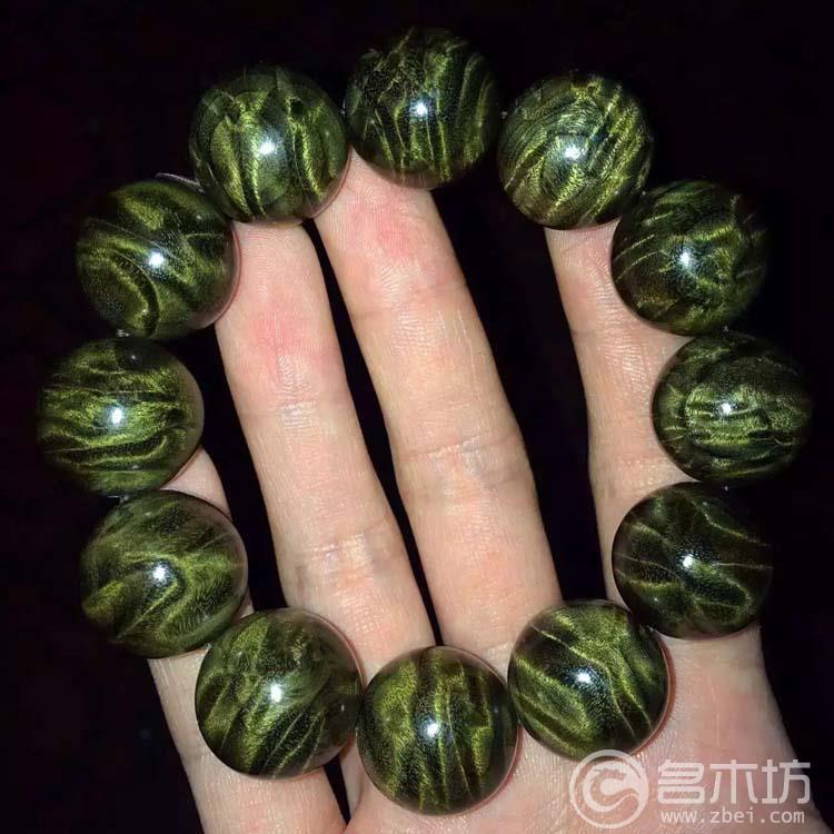 极品金丝楠木龙胆纹手串2.0x12颗乌木绿料