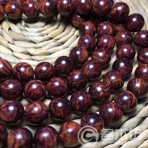 极品!收藏极别的一条海南黄花梨紫红油梨虎皮纹1.5X108颗念珠手串