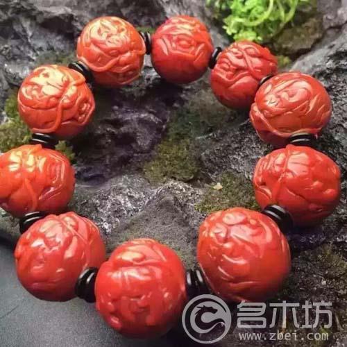 极品南红玛瑙雕满色满肉柿子红刻件手串大尺寸