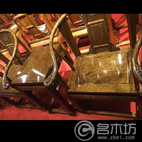极品收藏级乌木金丝楠木阴沉木家具满龙胆纹圈椅三件套