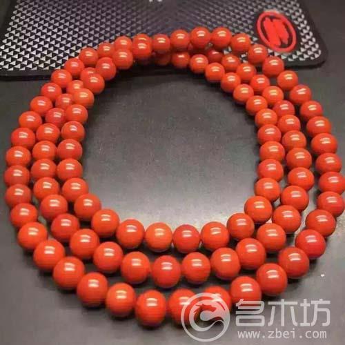 南玛瑙凉山满肉柿子红佛珠手链尺寸7mm重54.6克,