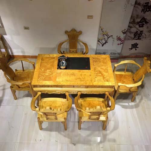 金丝楠木泡茶6件套茶桌茶椅