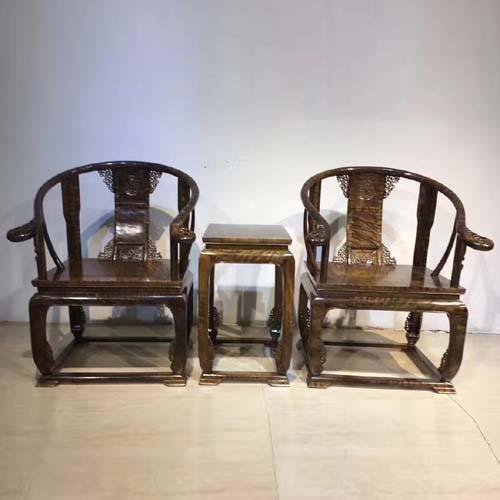 极品阴沉金丝楠家具之皇宫椅圈椅三件套
