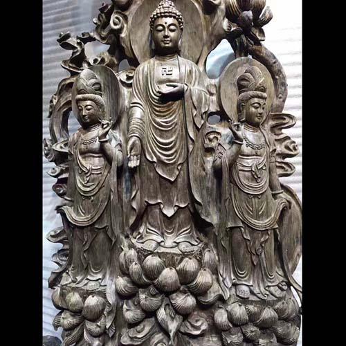 万年古阴沉木金丝楠佛像摆件西方三圣