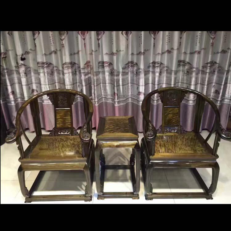 阴沉金丝楠家具皇宫椅三件套
