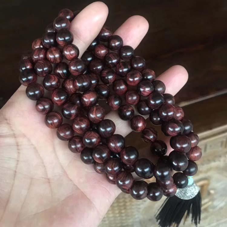 海黄紫油梨1.0* 108颗念珠手链