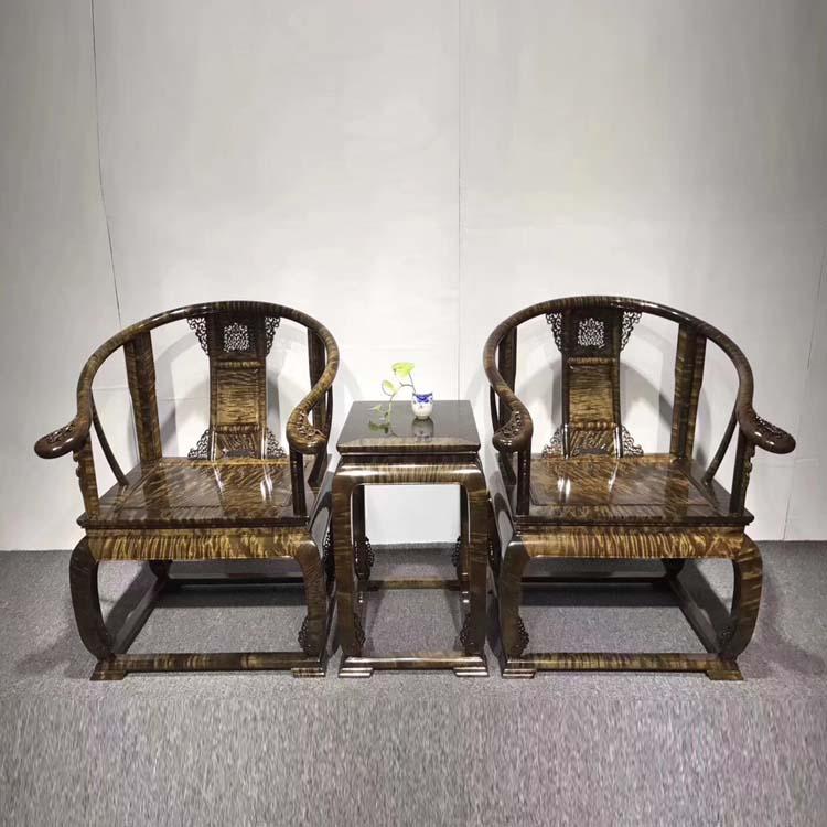 极品收藏级别的阴沉金丝楠满花纹皇宫椅三件套