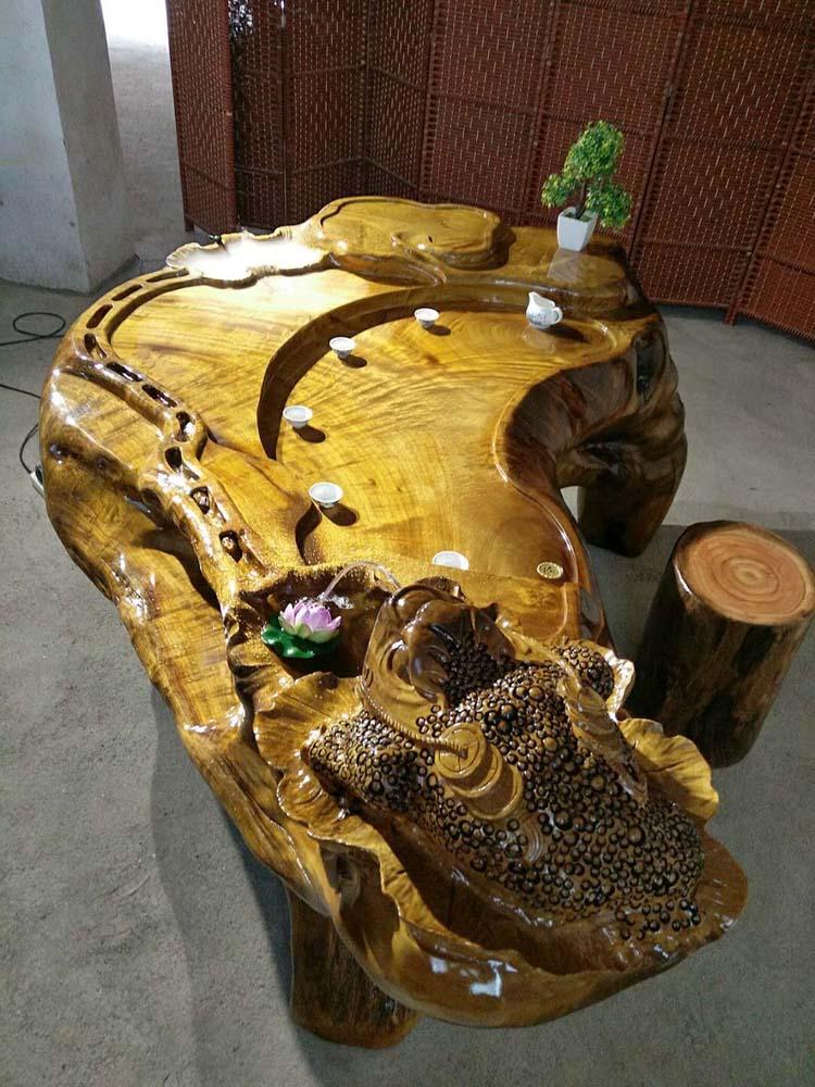 出售:金丝楠木茶台,根雕茶海