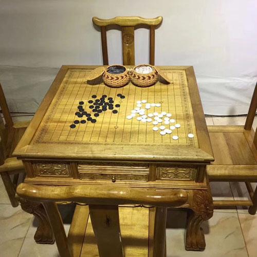 金丝楠木茶桌,围棋,象棋三用五件套