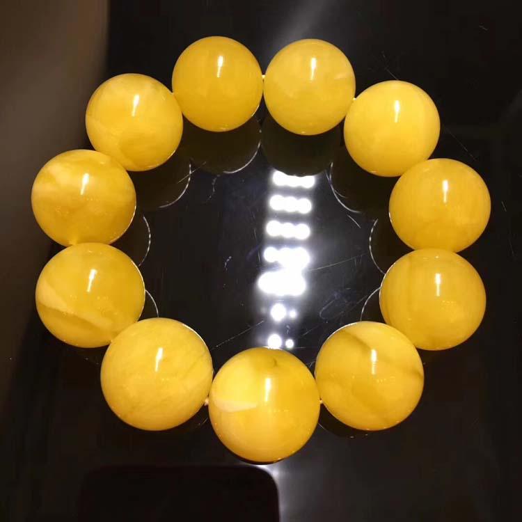 21mm+原矿蜜蜡满蜡鸡油黄圆珠男士手串