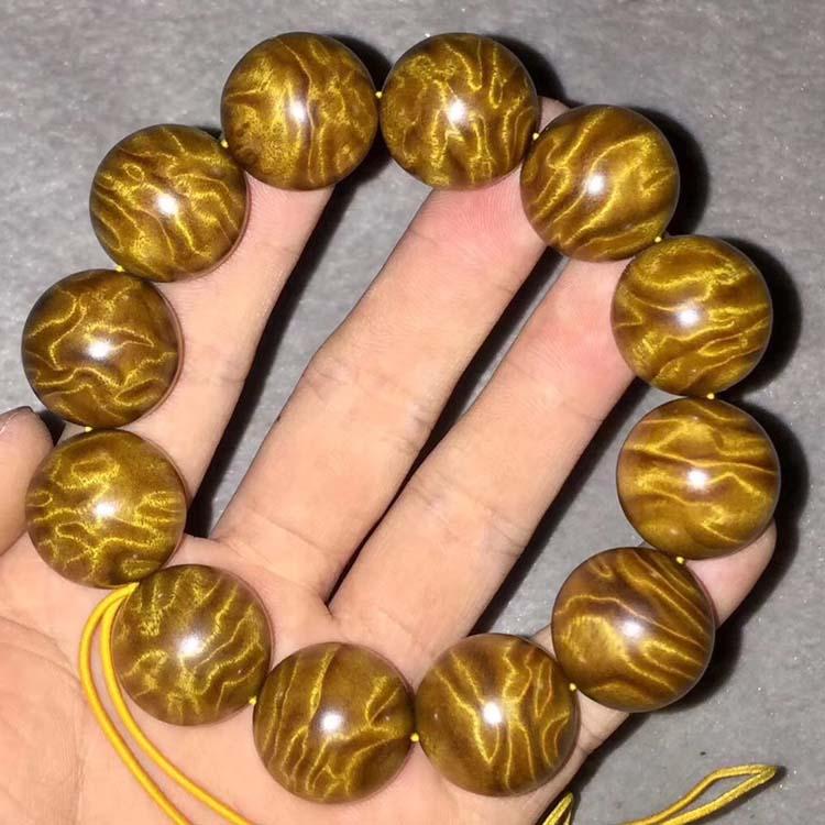 金丝楠木老料满龙胆纹手串2.0-12颗收藏品