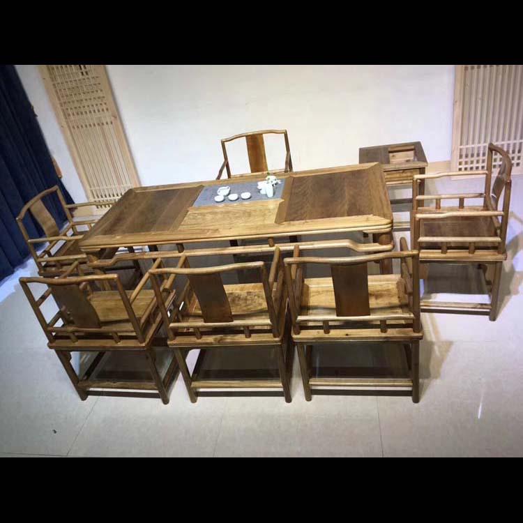 金丝楠木加长茶桌八件套188×86×76