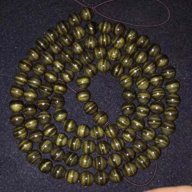 金丝楠阴沉木0.8*108颗纯绿料水波纹念珠手链
