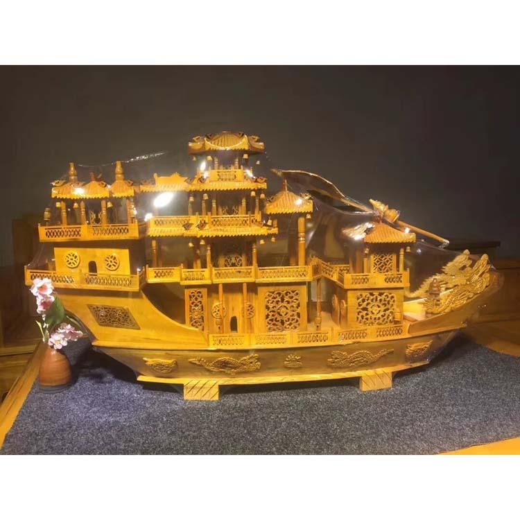 金丝楠木战船模型摆件