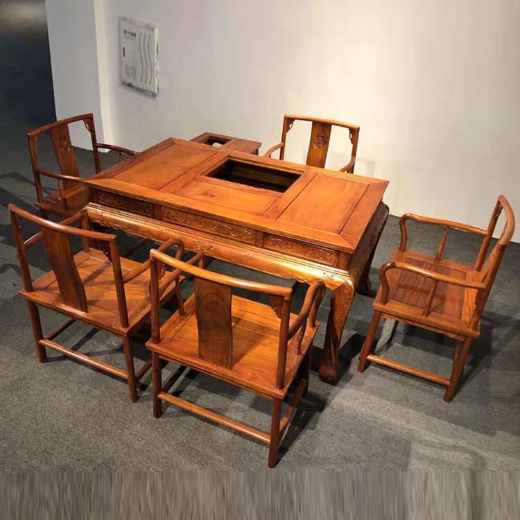 缅甸花梨木虎脚茶桌七件套
