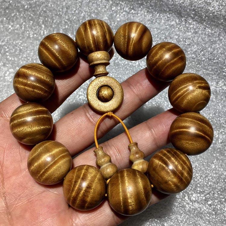 金丝楠木2.0,极品老料水水波纹手串