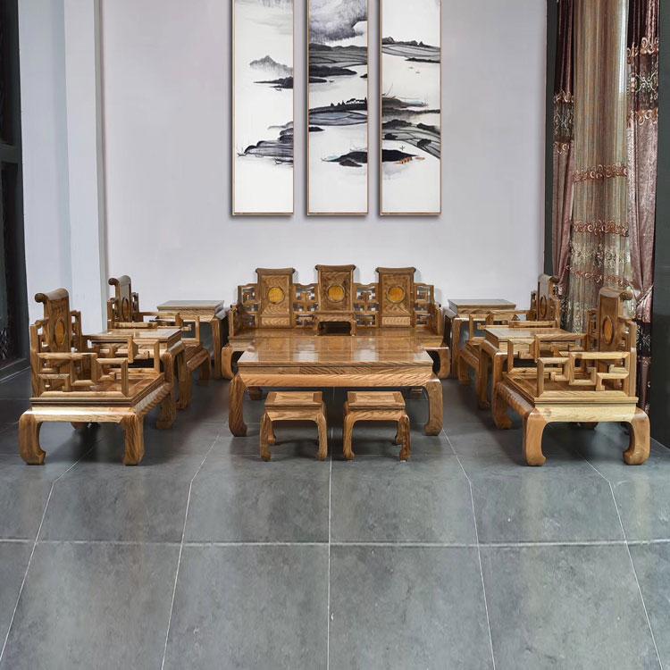 金丝楠木(小叶桢楠)黑虎皮纹沙发13件套