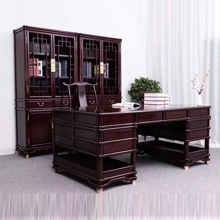 血檀书房书桌书柜三件套