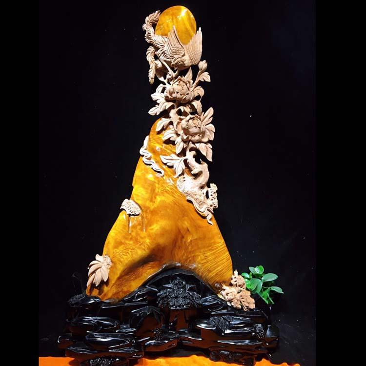 金丝楠木根雕《丹凤朝阳》材质干净