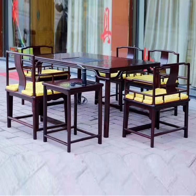 红木茶桌七件套宗红酸枝泡茶桌
