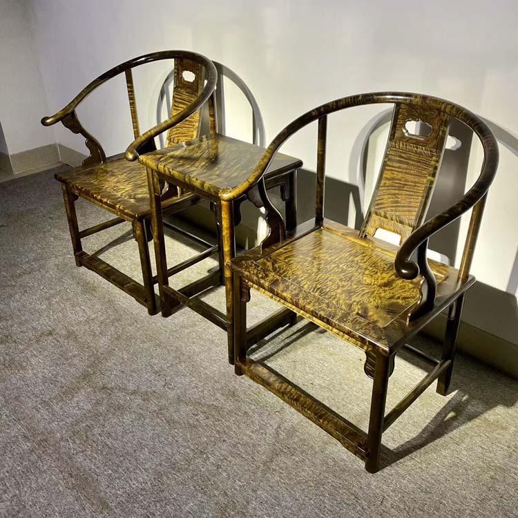 金丝楠木小叶桢楠阴沉木苏式圈椅三件套