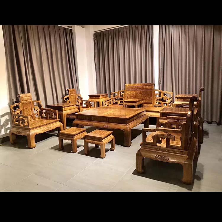 金丝楠木精品树头老料沙发十三件套满花纹,收藏品