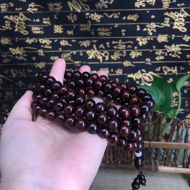 海南黄花梨紫油梨沉水料极品1.0cmX108颗念珠手链,颗颗精选