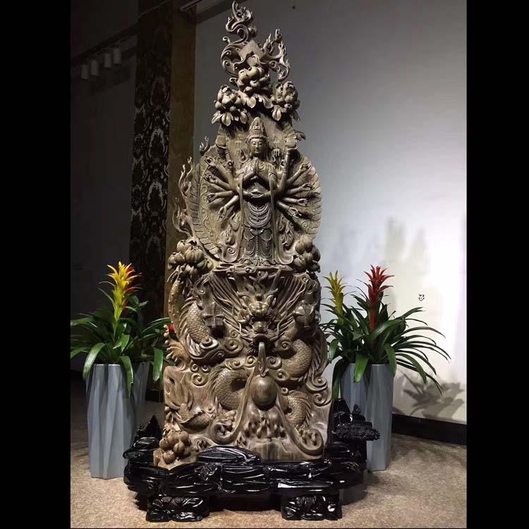 四川乌木金丝楠雕刻大型摆件:千手观音