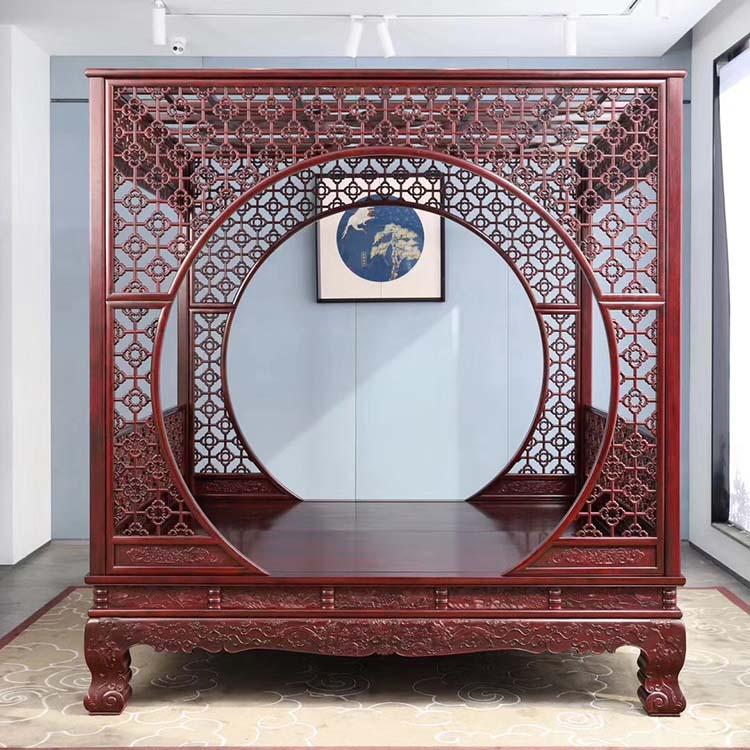 印度小叶紫檀家具之双月洞梅花架子床