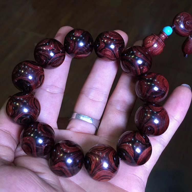 海南黄花梨收藏级别手串紫油梨对眼2.0