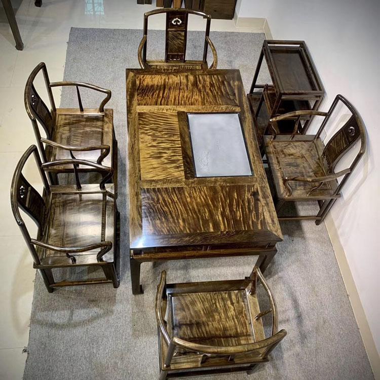 千年阴沉木金丝楠满纹茶桌7件套,规格:146/86/76