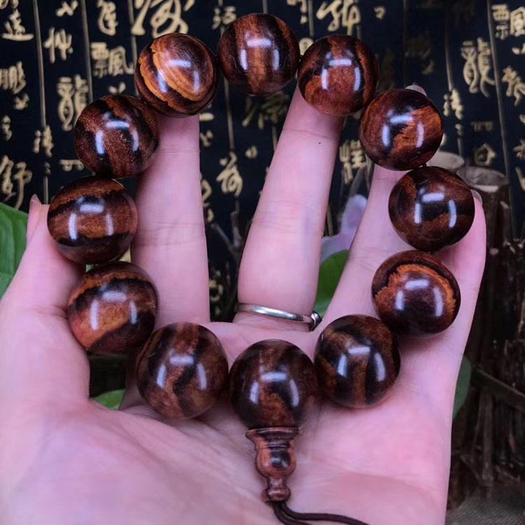 海南黄花梨2.0cm大紫黑线虎皮纹手串