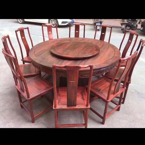 大红酸枝(交趾黄檀)158圆桌11件套