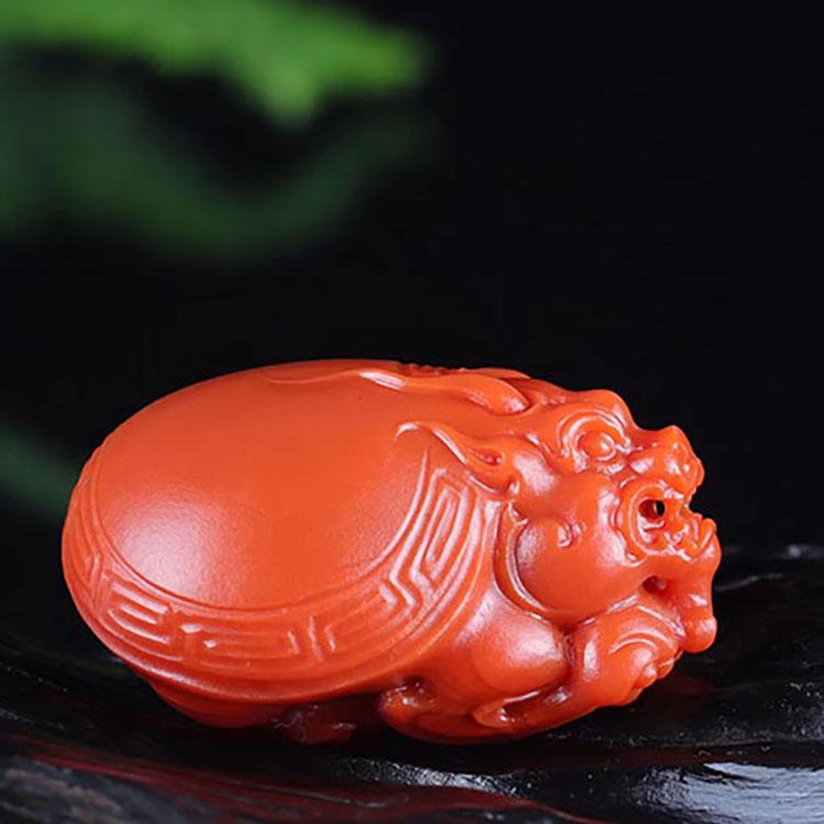 优质楠红瓦西玉化老料子,收藏级龙龟挂件