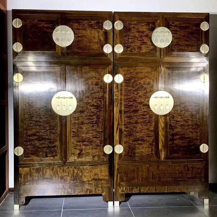 金丝楠木乌木满满的龙胆金丝纹(千年阴沉木)顶厢柜