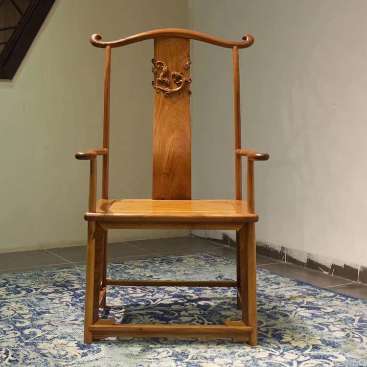 缅甸花梨(大果紫檀)璃龙官帽椅