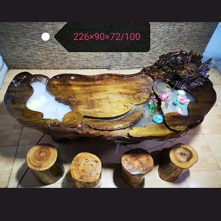 阴沉金丝楠木雕龙大茶台,茶海主图