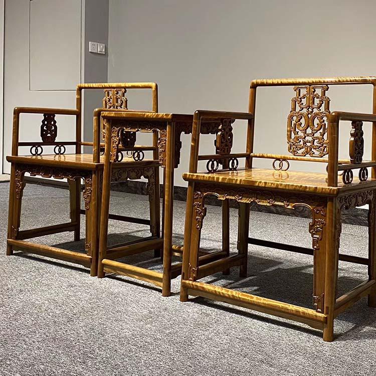 千年阴沉木金丝楠黄料玫瑰椅三件套