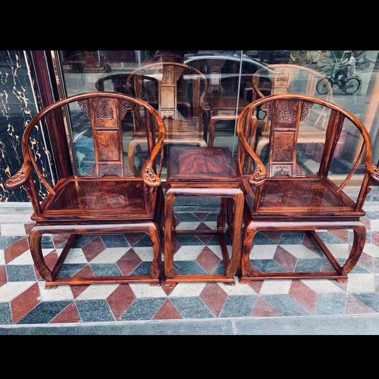 海黄紫油梨皇宫椅三件套,面板独板一木开,