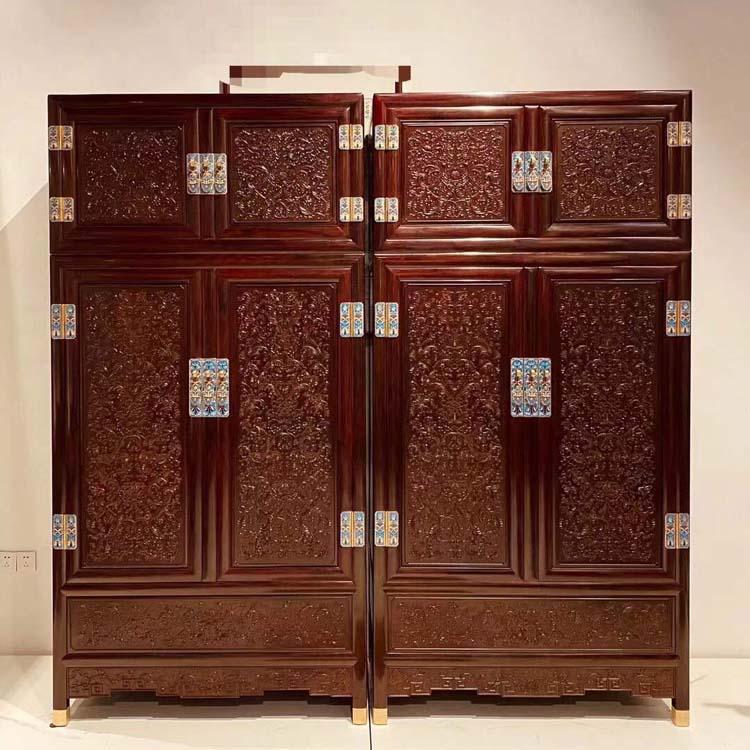 印度小叶紫檀-西番莲顶箱柜