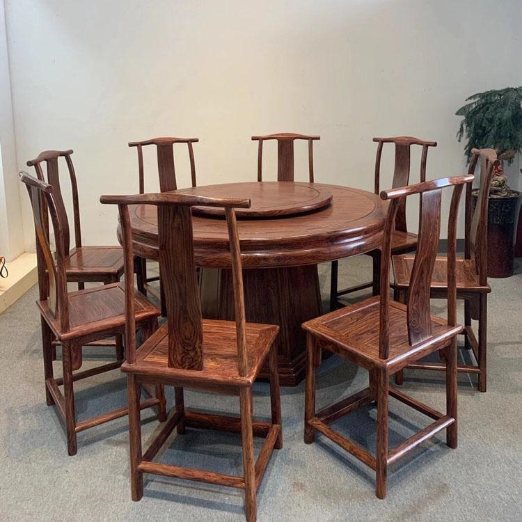 海南黄花梨明式圆餐桌九件套