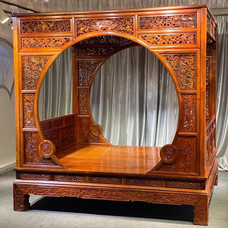 缅甸花梨清式双月洞架子床